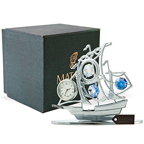 Chrome Plated Desk Clock - Matashi MTCL13025 Chrome Plated Silver Sailboat Tabletop Ornament with Clock Blue Crystals | Timepiece Home Décor, Keepsake Or Work Decoration | Precision Analog Time Keeping