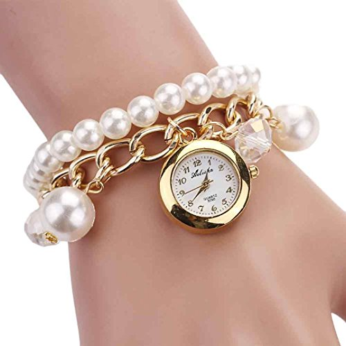 Pearl Quartz Watch - Women Ladies Luxury Jewelry Bracelet Wrist Watches Pearl Quartz Dress Watch Clock (White)