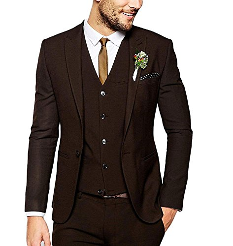 Fitty Lell Men's Suits 3 Pieces Wedding Groom Tuxedos Slim Fit One Button Blazer Men Suit Set(50 Regular,Dark Brown) (Wedding 3 Piece Suits For Groom In India)