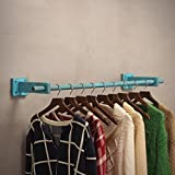 Living Room Bedroom Hook Coat Rack Iron Wood Wall Frame Retro Hook On Wall Hanger Durable/Rust/Removable/Easy To Install Blue, Brown, Green, White (60cm, 80cm, 100cm, 120cm) Home Furnishing