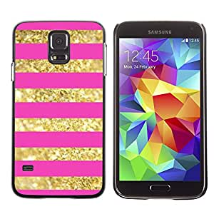 Planetar® ( Gold Lines Pattern Bling Pink Glitter ) SAMSUNG Galaxy S5 V / i9600 / SM-G900F / SM-G900M / SM-G900A / SM-G900T / SM-G900W8 Fundas Cover Cubre Hard Case Cover