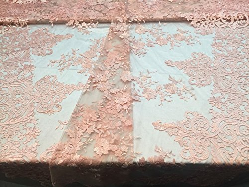 Stretch Veil (Lace Fabric - Embroidered Flowers 2 way Stretch Peach For Bridal veil - Wdding Dress & Home Decorations By The Yard)