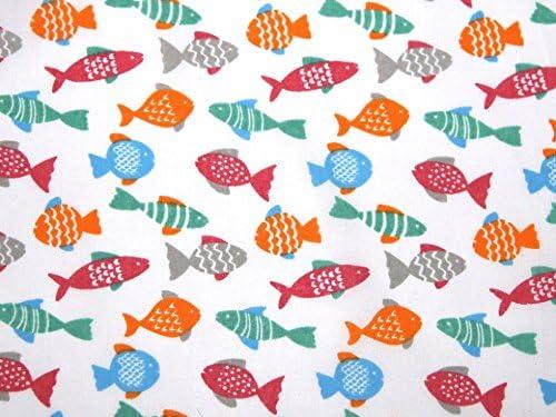 Pescado impresión vestido de polialgodón tela blanca – por metro ...