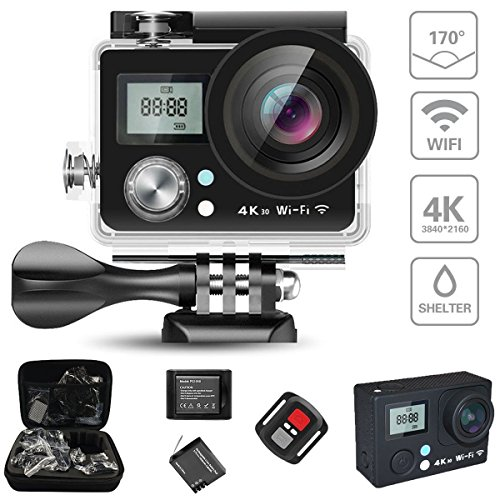 KAMRE Action Camera 4K WIFI Sports Action Camera Ultra HD Waterproof 16MP DV Camcorder 170° Wide Angle, 2