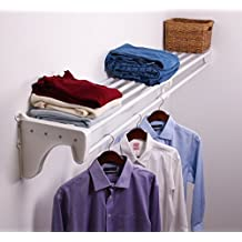 EZ Shelf EZS-SCRW72-1-1 Expandable Closet/Rod, Bracket for Mounting to One Side and Back Wall, White