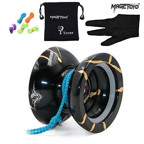 Magic YoYo N11 w/ Weight Ring Metal Unresponsive Yo Yos Professional Yo-yos Trick Toy Black & Golden