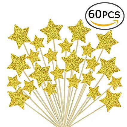 - Laviee 60 PCS Cupcake Gold Star Cake Toppers for Wedding Birthday Baby Shower Party Valentine's Day Decoration, 60Pack