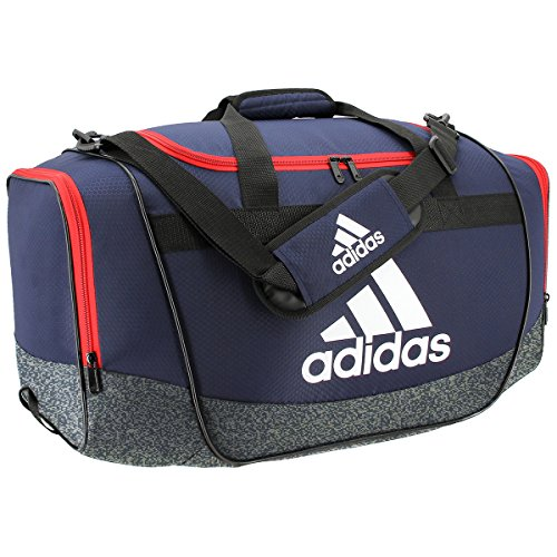 adidas Defender II Medium Duffel Bag, Medium, Collegiate Navy/Jersey Onix/Scarlet/White