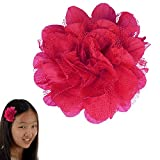 Peony Flower Hair Clip - Girl TruStay Clip - Best NO Slip Barrette For Fine Hair (GD3-Hot Pink)