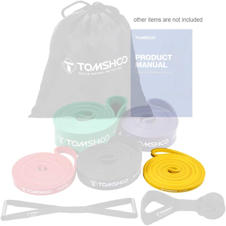 TOMSHOO Pull Up Assist Band 5-15 lbs Bande de r/ésistance Extensible pour /étirement et Remise en Forme
