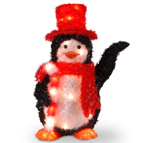National Tree 22 Inch Tinsel Penguin with Candy Cane and 35 Clear Outdoor Lights (MZPG-22BL) Christmas Tinsel Garland Wholesale