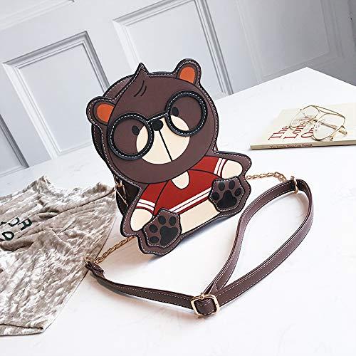Bag femminile Saoga Cute coreana Cafe versione a Cartoon Brown Personalità Fashion Shoulder Oblique catena The Borsa Wild Small Girl HwdIq6dr