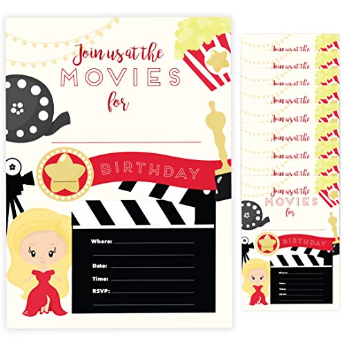 Movies Style 1 Happy Birthday Invitations Invite Cards (10 Count) With Envelopes Boys Girls Kids Party (10ct) ()