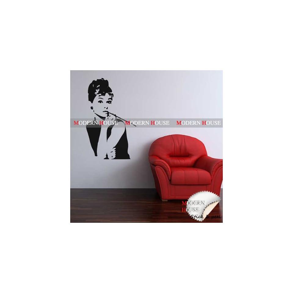 Modern House Audrey Hepburn Giant Portrait removable Vinyl Mural Art Wall Sticker Decal