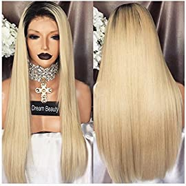 Straight Ombre Blond Human Hair Wigs Full Lace Wig 1B 613 Color with Free Part 130% Density Lace Frontal Wig for Black Women and White Women (12Inch, Lace Frotnal Wig)