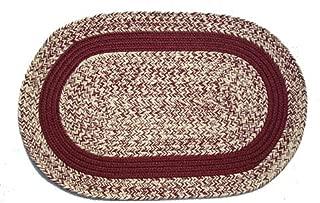product image for Oval Braided Rug (2'x3'): Oatmeal Burgurandy - Burgurandy Band