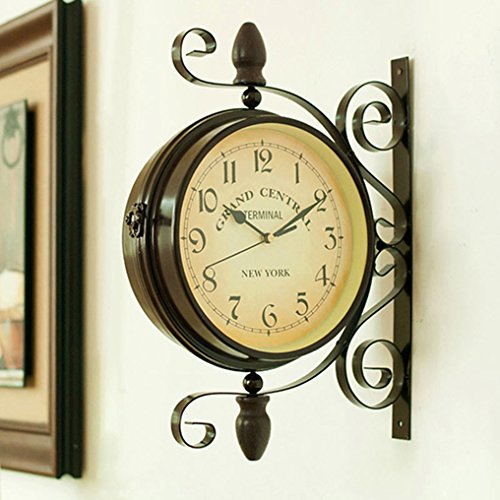 wooch Wrought Iron Antique-Look Brown Round Wall Hanging Double Sided Two Faces Retro Station Clock Round Chandelier Wall Hanging Clock with Scroll Wall Side Mount Home Décor Wall Clock 8-inch (Clock Central Station)