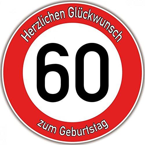 Tortenaufleger Fototorte Tortenbild Warnschild 60. Geburtstag rund 20 cm GB09