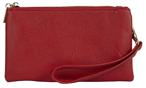 Big Handbag Shop - Cartera de mano con asa de piel sintética para mujer Style 2 - Red