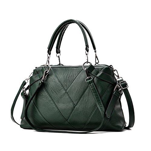 Tisdaini 2018Nuevo Mujer bolso de mano PU piel moda bolso bandolera bolsas de dama Verde Oscuro