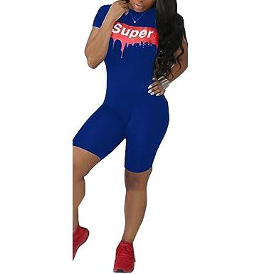 1437ef048c68 Amazon.com  Women Letter Print Short Sleeve Bodycon Short Jumpsuit Romper  Sportswear  Clothing