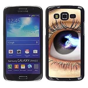 TECHCASE**Cubierta de la caja de protección la piel dura para el ** Samsung Galaxy Grand 2 SM-G7102 SM-G7105 ** Eye Blue Black Space Lashes Close Up