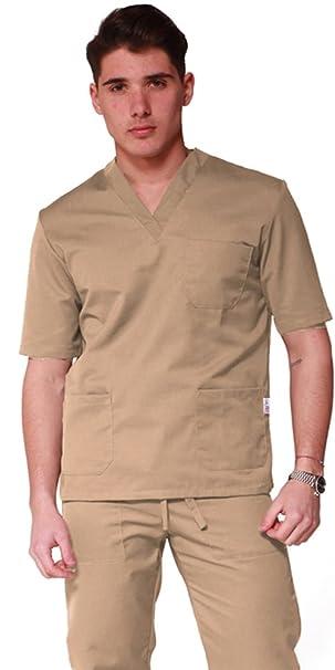 Uniforme para personal sanitario de algodón 100%: pantalón + camisola con escote de pico