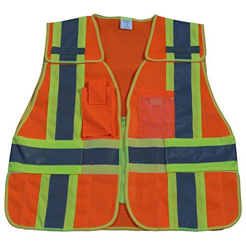 - Petra Roc OVM2-PSV-PLUS ANSI-107 Class 2 /Lime Contrast 5-Pt Breakaway Public Safety Vest, XX-Large/5X-Large, Orange Mesh