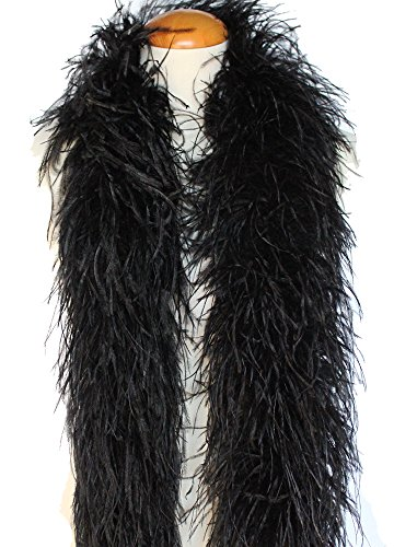 4ply Ostrich Feather Boas, Over 20 Colors to Pick Up - Black Boa Ostrich Feather