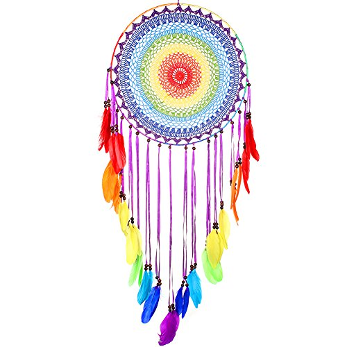 Buvelife Dream Catcher Super large Bohemia Dream Catcher with Colourful Rainbow Feather Home Decoration Super Large Rainbow