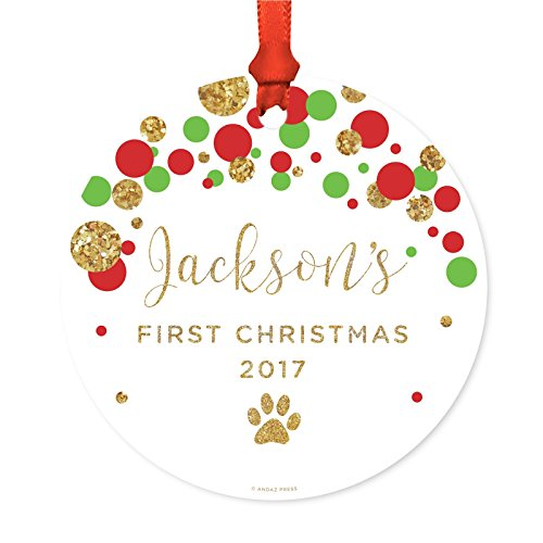 Andaz Press Personalized Dog Cat Pet Animal Round Metal Christmas Ornament, Jackson's First Christmas, 2019, Red Green Gold Glittering Polka Dots, 1-Pack, Includes Ribbon and Gift Bag, Custom Name ()