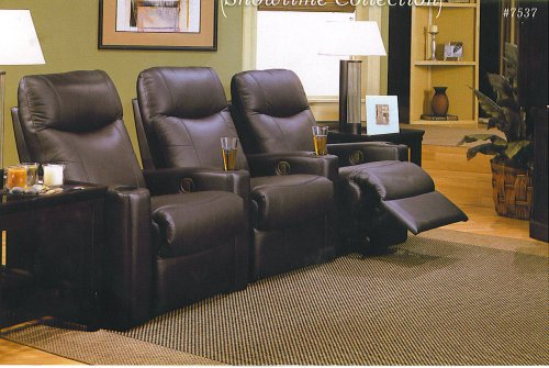 Coaster Showtime Collection Black Leather Motion Home Theater Sofa Couch Chair by Coaster Home Furnishings