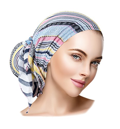 (ShariRose Pre-Tied Headscarf Tichel Headcover for Women Weightless Collection! Over 30 Colors! Handmade (Linen Navy Stripe Pink Long))