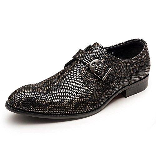 Hombres Serpentina Hebilla Boda Zapatos Vestir Ponerse Negro Casual Cuero Formal Negocio Oxford para Hombres Club nocturno tamaño 38-44 black