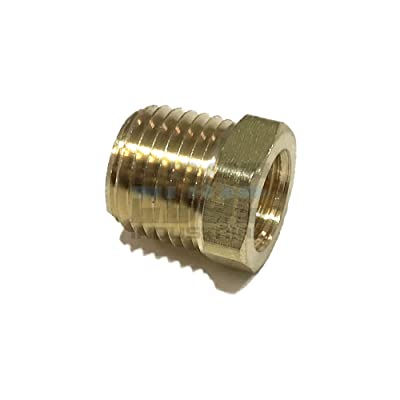 "EDGE INDUSTRIAL Brass REDUCING HEX Bushing 1/4"" Male NPT X 1/8"" Female NPT Fuel / AIR/ Water / Oil/ Gas WOG (Qty 01): Automotive"