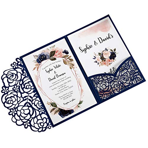 DreamBuilt 4.7 x7 inch 50PCS Blank Navy Blue Wedding Invitations Kit Laser Cut Hollow Rose Pocket Wedding Invitation Cards with Envelopes for Wedding Bridal Shower Engagement Invite