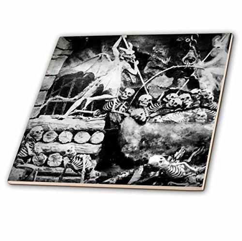 3dRose 3D Rose Satanville Vintage French Stereoview Skeletons Devil 1800s Ceramic Tile, (Devils Ceramic)