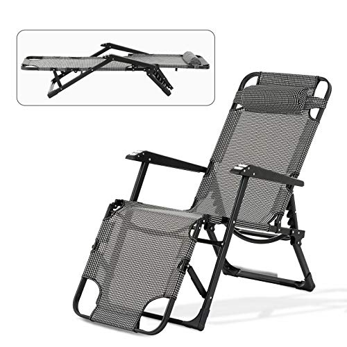 mecor Lounge Chairs Folding Bed Adjustable Recliner Patio Chairs Folding Recliner Outdoor Indoor Yard Beach (Plaid-Low) (Reclining Adjustable Chair Lounge)
