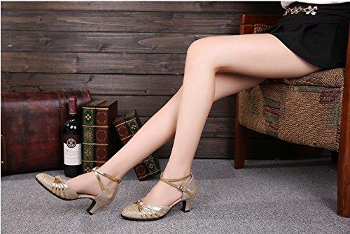 Gold Carré amp; Doux Taille Color Femme Modernes Été Chaussures 39 De Amitié Latine Danse Tmkoo Adulte Nouvelles Fond HqwZA74