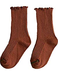 TUSFTAY Kids Toddler Boy Girls Cotton Socks Solid Color Crew Socks for 1-8Years