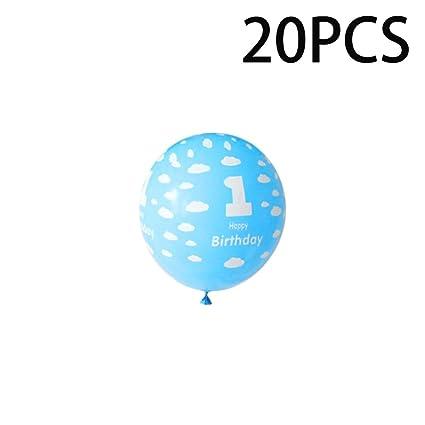 Prima05Sally 20Pcs / Pack 1 año de Edad, Globos de ...