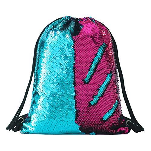 Sequin Drawstring Backpack Gym Dance Bags Mermaid Magic Reversible Glitter Bag Unicorn Gift for Girls Daughter Boy Flip Sequin School Bag Birthday Gift for Kids Women]()