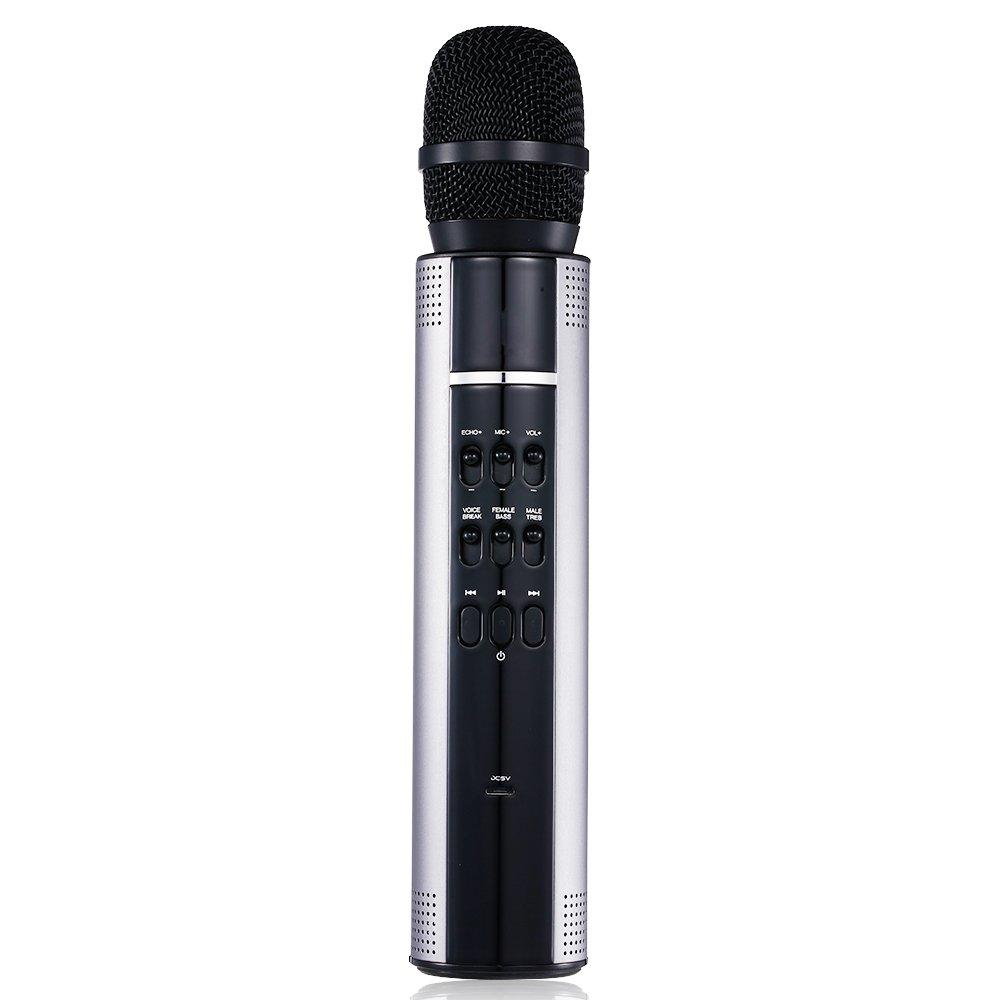 Karaoke Mikrofon Wireless Bluetooth Lautsprecher - POHO Tragbar Voice Changer Stereo Player Recorder fü r Zuhause KTV Picknick Im Freien (Rosa)