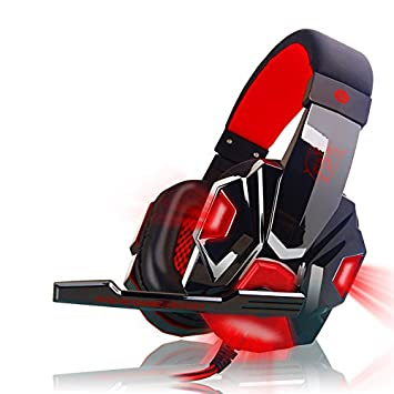 Ocamo Over Ear Gaming Headset with Mic and LED Light for Laptop Cellphone PS4 red