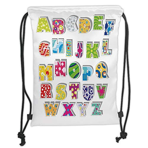 - New Fashion Gym Drawstring Backpacks Bags,Letters,Full Set of Alphabet with Various Designs Abstract Dots Squares Splashes Pattern Decorative,Multicolor Soft Satin,Adjustable Stri