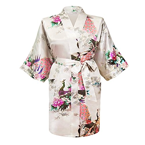 Gifts Are Blue Floral Satin Womens Plus Size Robes, Lightweight, Sizes 20-38, Knee Length (White, 6XL / 28W - 38W) by Gifts Are Blue (Image #2)