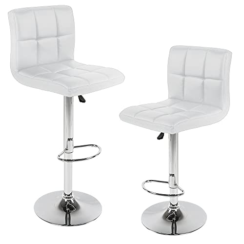 New Modern Adjustable Height Leather Swivel Bar Stools Chairs -Sets of 2 White