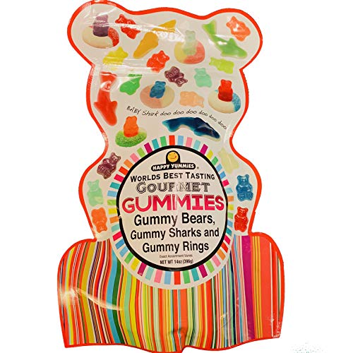 Happy Yummies Worlds Best Tasting Gourmet Gummies Assortment 14 Ounce! Sour Gummies and Flavored Gummy with Assorted Gummy Shapes! Choose from Sour Gummy or Flavored Gummy! (Flavored Gummies)