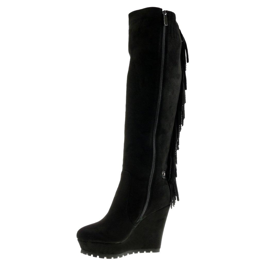 Angkorly - Damen Schuhe Stiefel - Plateauschuhe - Flexible Flexible Flexible - Fransen - Strass Keilabsatz high Heel 11.5 cm Schwarz 427b52