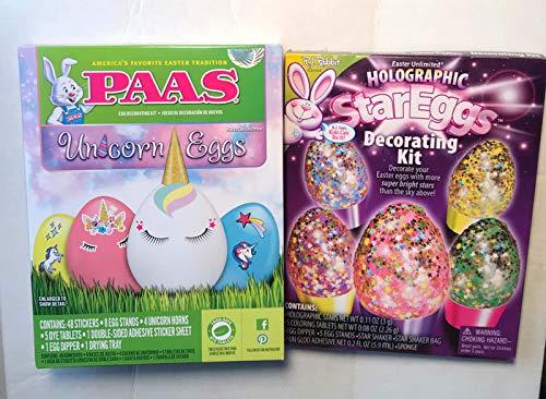 Unicorn Egg and Holographic Star Egg Decorating Kits - Bundle of 2